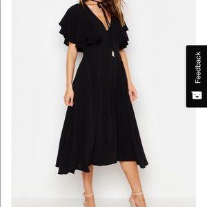 Ruffle Angle Sleeve Back midi dress